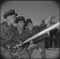Manzanar Relocation Center, Manzanar, California. A practice fire drill gives the local fire depart . . . - NARA - 536950.tif