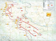 Map showing JNA military operations in eastern Slavonia, Syrmia and Baranja from September 1991 to January 1992, indicating movements from Serbia to cut off and reduce Vukovar and to capture territory south of Osijek.