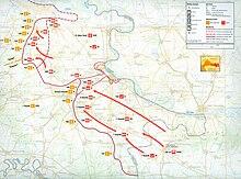 Mapo montranta al JNA armeajn operaciojn en orienta Slavonio, Srem kaj Baranja de septembro 1991 ĝis januaro 1992, indikanta movadojn de Serbio ĝis tranĉo for kaj reduktas Vukovar kaj por konkeri teritorion sude de Osijek.