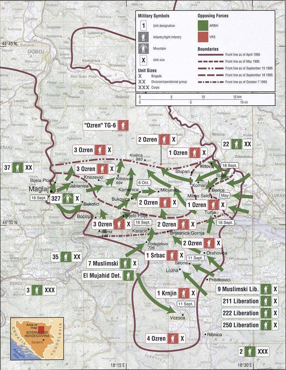 Map 62 - Bosnia - Ozren Mountains, September-October 1995