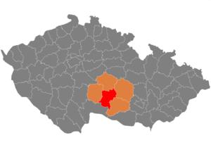 Vị trí huyện Jihlava trong vùng Vysočina trong Cộng hòa Séc