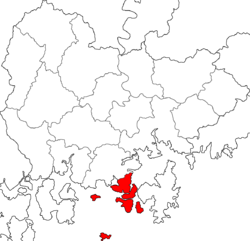 Kart over Tongyeong Hangul: 통영시 Hanja: 統營市 RR: Tongyeong-si MR: T'ongyŏng-si