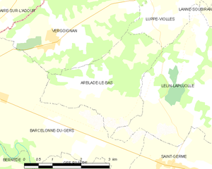 Arblade-le-Bas - Map of Arblade-le-Bas and its surrounding communes