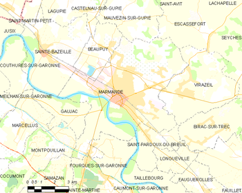 Map of the commune of Marmande