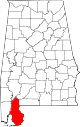 Map of Alabama highlighting Baldwin County.svg