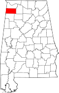 Map of Alabama highlighting Franklin County