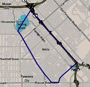 Arleta, Los Angeles - Image: Map of Arleta neighborhood, Los Angeles, California