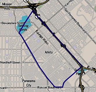 Arleta, Los Angeles - Image: Map of Arleta neighborhood, Los Angeles, California
