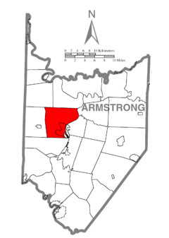 Map of East Franklin Township, Armstrong County, Pennsylvania Highlighted.png