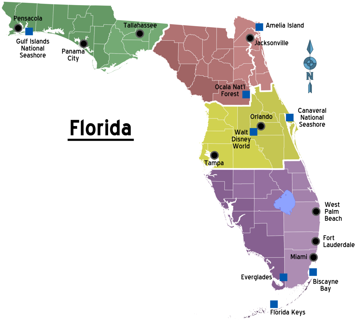 FileMap Of Florida Regions With Citiespng Wikimedia Commons - Florida map everglades city