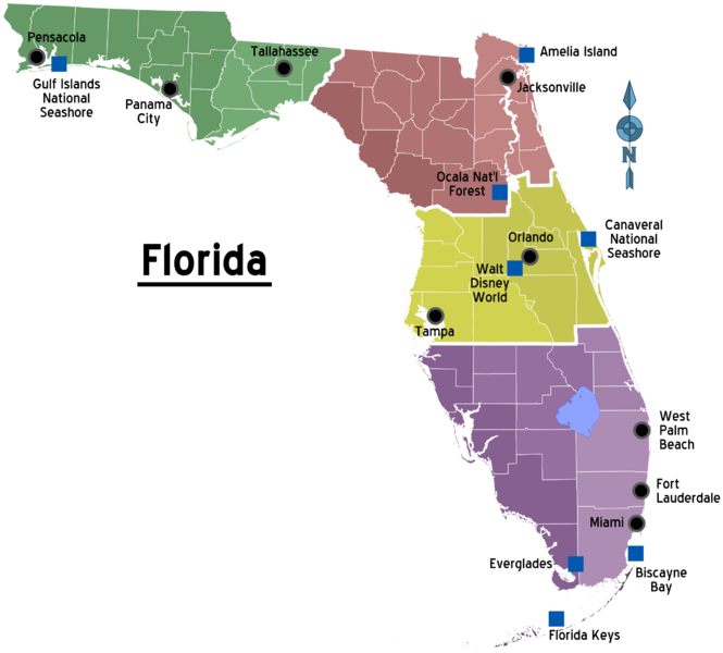 Florida Panhandle Map.File Map Of Florida Regions With Cities Png Wikimedia Commons