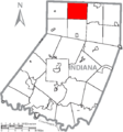Map of Indiana County, Pennsylvania Highlighting North Mahoning Township.PNG