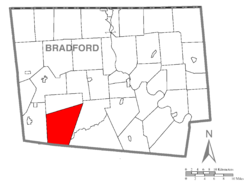 Map of Bradford County with Leroy Township highlighted