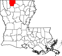 Map of Louisiana highlighting Claiborne Parish