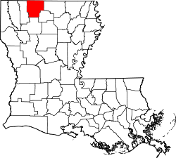 Harta e Claiborne Parish në Louisiana