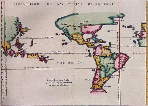 Map of Meridian Line set under the Treaty of Tordesillas
