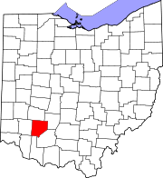 Kort over Ohio med Clinton County markeret