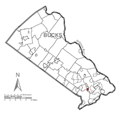 Map of Penndel, Bucks County, Pennsylvania Highlighted.png