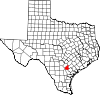 State map highlighting Karnes County