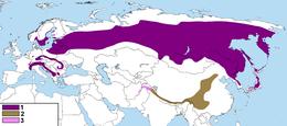 Map of distribution of Nucifraga caryocatactes