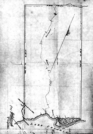 Toronto Purchase - A map of the Toronto purchase. notable is the British surveyor's insistence on using a grid, instead of using the natural features to demarcate boundaries, such as Etobicoke Creek.
