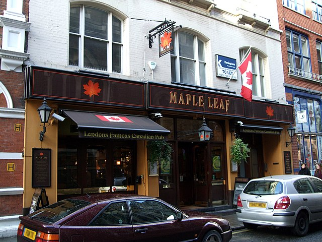 Maple Leaf By Ewan Munro from London, UK (Maple Leaf, Covent Garden, WC2  Uploaded by Oxyman) [CC-BY-SA-2.0 (https://creativecommons.org/licenses/by-sa/2.0)], via Wikimedia Commons