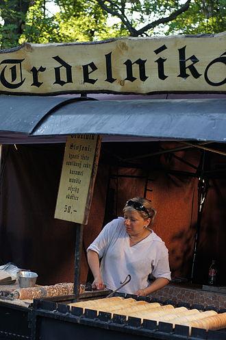 Trdelník - Trdelník booth at a market in Litoměřice.