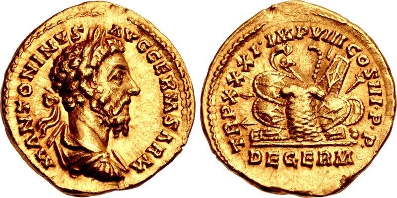 Marcus Aurelius, aureus, AD 161-180, RIC III 362