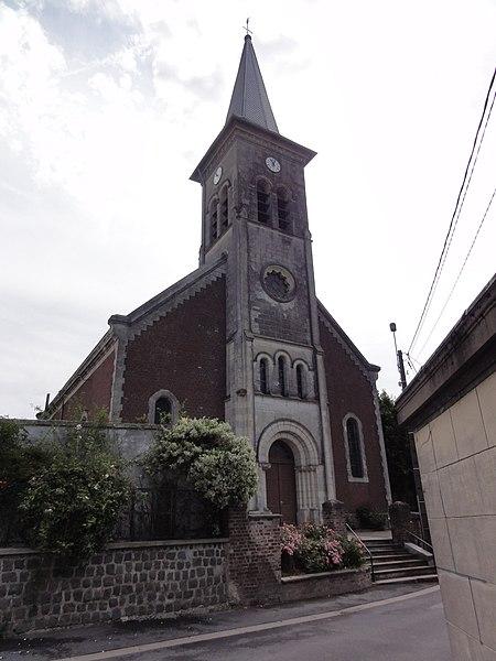 Maresches(Nord,Fr) église, façade
