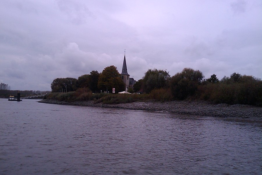 Church of Mariekerke (Belgium) from the Schelde river.