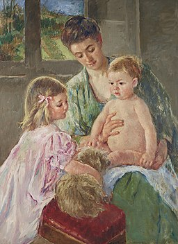 Mary cassatt children playing with a dog)