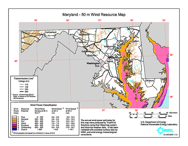 File:Maryland wind resource map 50m 800 jpg - Wikimedia Commons