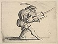 Masked small figure with a sword in both hands, in profile view, striding to the right, from the series 'Varie figure gobbi' MET DP833450.jpg