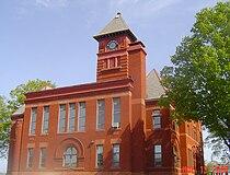 Mason County courthouse clock tower.jpg