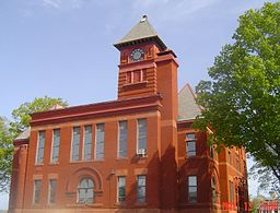 Mason County courthouse clock tower.jpg