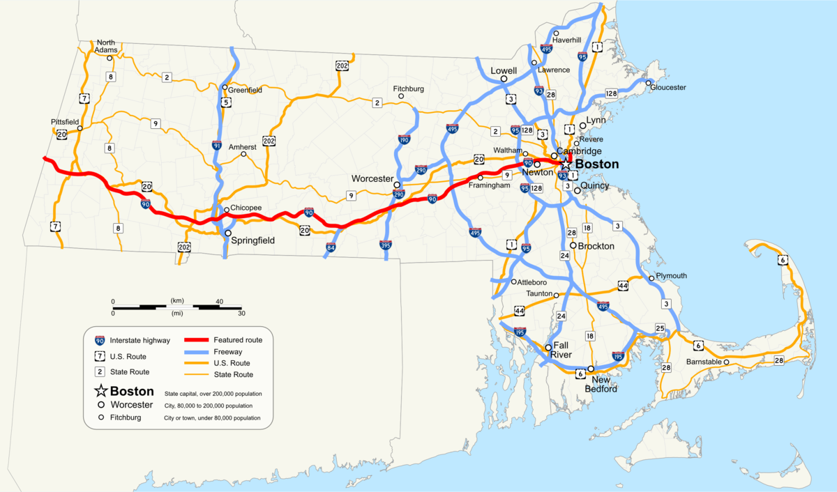 Massachusetts Turnpike Wikipedia - Map of massachussets