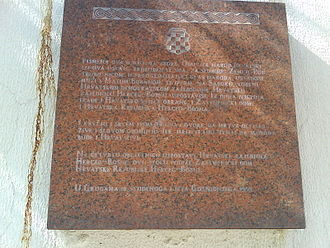 Mate Boban - Memorial plaque in Grude, made in tribute of Mate Boban and the leaders of Herzeg-Bosnia