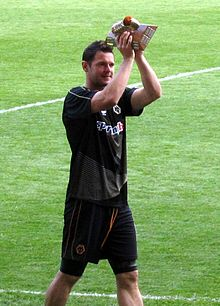 d654643493d Matt Jarvis collects his Player of the Season award after the final game.