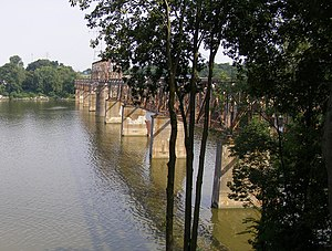 """Toledo Terminal Railroad - """"Toledo Terminal Upper Maumee River Swing Bridge"""" - Built in 1902 and abandoned in 1982 after a derailment (March, 1982) damaged the structure."""