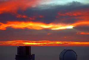 Mauna Kea Observatories - Sunset over Mauna Kea Observatories