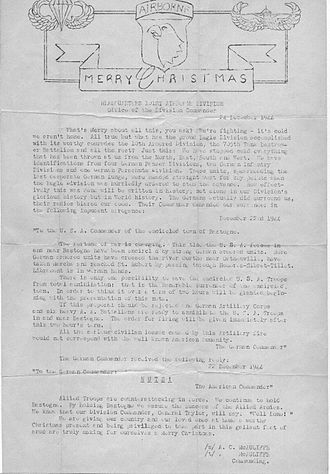 Siege of Bastogne - Letter from General McAuliffe on Christmas Day to the 101st Airborne troops defending Bastogne.