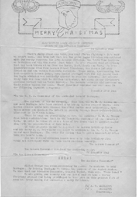 "Letter to 101st soldiers, containing Gen. McAuliffe's ""Nuts!"" response to the Germans McAuliffeBastogneChristmasLetter101Airborne.jpg"