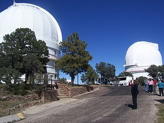 McDonald Observatory - Domes of the 2.1 m Otto Struve Telescope (left) and 2.7 m Harlan J. Smith Telescope (right).