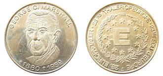 George Marshall - Medallion issued in 1982 to honor George Marshall's post-war work for Europe