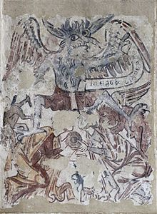 Medieval wall painting, St Michael and St Mary, Melbourne, Derbyshire.jpg