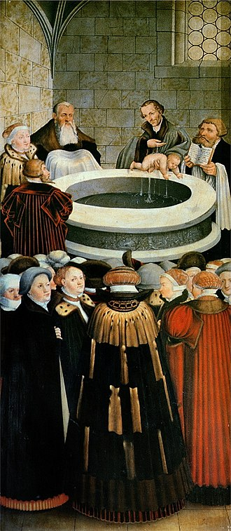 Infant baptism - German reformer Philipp Melanchthon baptizing an infant