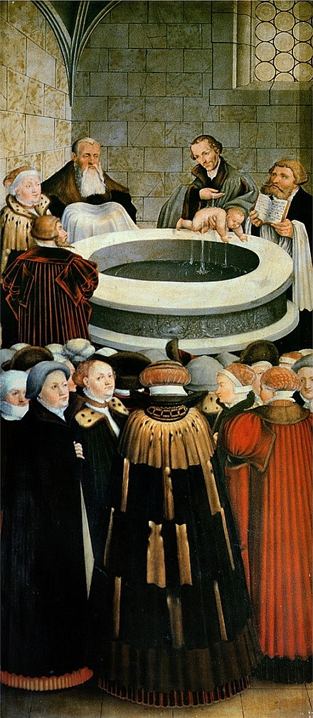 German reformer Philipp Melanchthon baptizing an infant Melanchthon-tauft.jpg