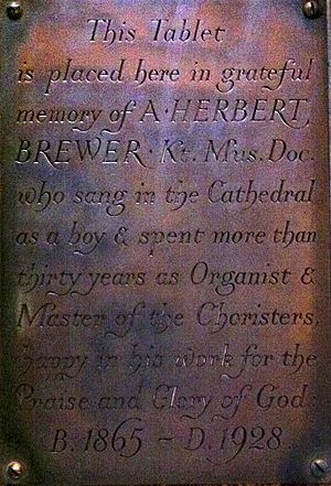 Herbert Brewer - Memorial to Herbert Brewer in Gloucester Cathedral