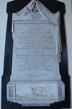 HMS Doterel (1880) - Memorial to the loss of HMS Doterel, Chapel, Greenwich Naval College