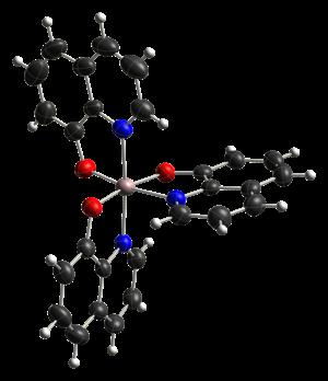 Tris(8-hydroxyquinolinato)aluminium - Image: Mer tris(8 hydroxyquinoline)alu minium(III) from xtal 2000 CM 3D ellipsoids